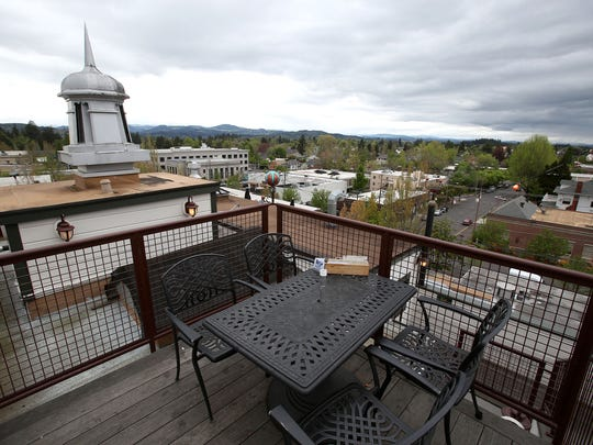The Rooftop Bar at McMenamins Hotel Oregon offers a view with your meal.