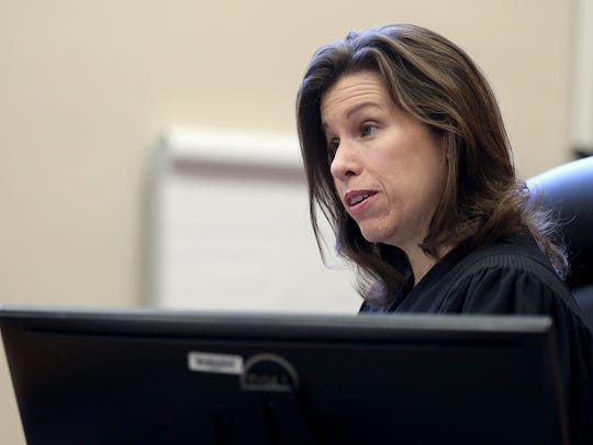 Judge Tracy Prall presides over a hearing in the case of former First Lady Cylvia Hayes vs. The Oregonian at the Marion County Courthouse in Salem on Friday.