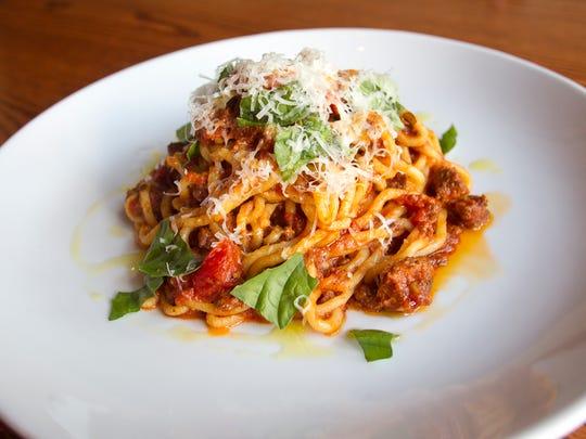 Basta's spaghetti Bolognese is seen on Thursday, May 7, 2015. David Scrivner / Iowa City Press-Citizen
