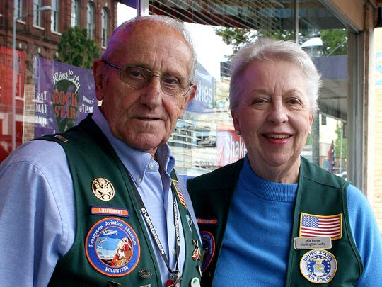 Ann Trombley and Richard Peterson are volunteers at the Evergreen Aviation & Space Museum.