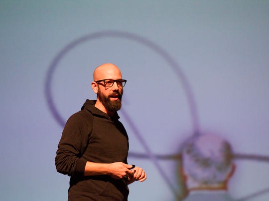 Ben Milne, founder of Des Moines-based Dwolla, delivers EntreFEST's opening keynote talk at the Englert Theatre on Wednesday, May 20, 2015.