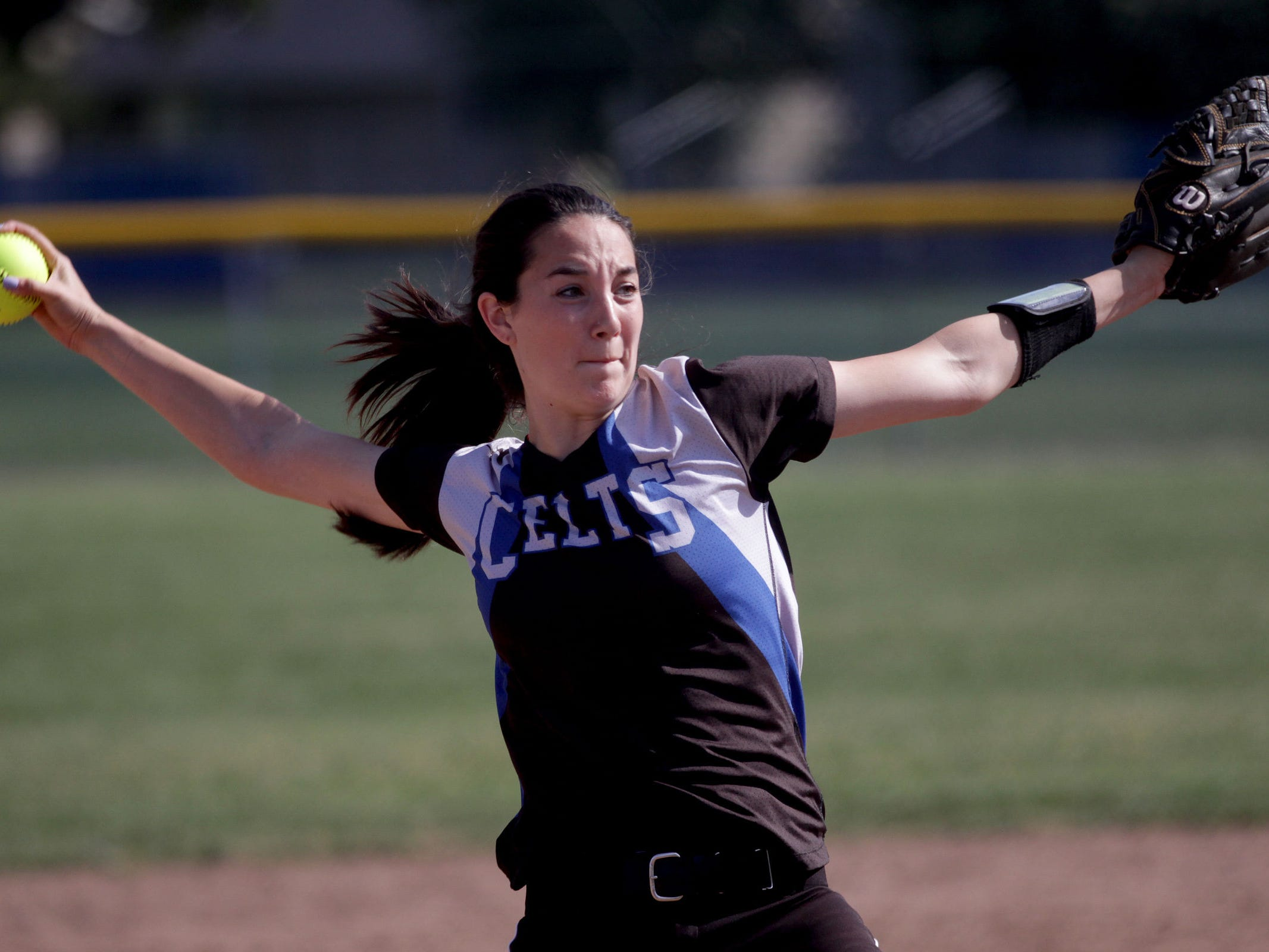 McNary's Megan Ulrey (26) pitches in the Gresham vs. McNary softball game, in the first round of the OSAA class 6A state playoffs, at McNary High School in Keizer on Monday, May 25, 2015. McNary won the game 11-7.