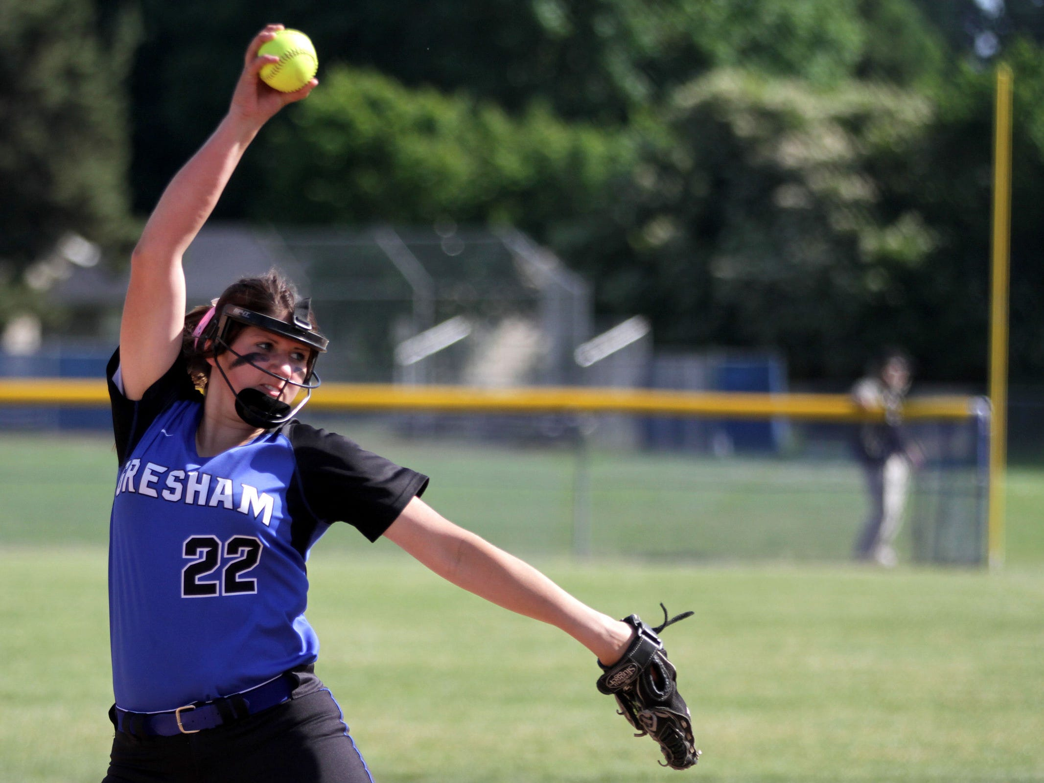 Gresham's Shianne Smith (22) pitches in the Gresham vs. McNary softball game, in the first round of the OSAA class 6A state playoffs, at McNary High School in Keizer on Monday, May 25, 2015. McNary won the game 11-7.