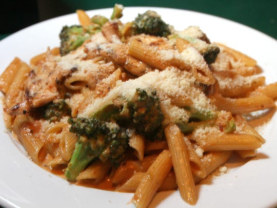Penne vodka with brocoli is on the menu at PK's Shamrock Pub in Lake Como.