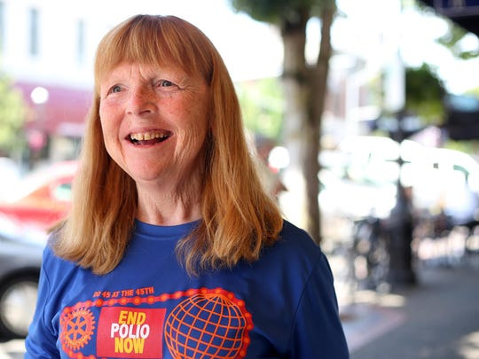 Mary Ann Sangster, with the Keizer Rotary End Polio Now Bike Ride, at the Statesman Journal's Holding Court at the Court Street Dairy Lunch in downtown Salem on Tuesday, June 16, 2015.