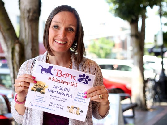 Janis Hite, with the American Cancer Society Bark for Life, at the Statesman Journal's Holding Court at the Court Street Dairy Lunch in downtown Salem on Tuesday, June 16, 2015.