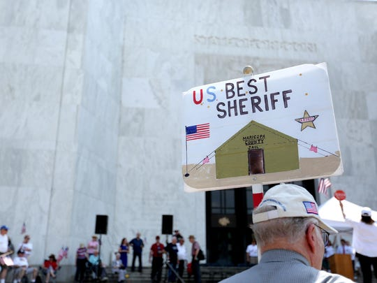 Jim Elvin, 80,, of Salem, attends a rally for Joe Arpaio, Arizona's Maricopa County Sheriff, as he speaks at the Oregon State Capitol on Saturday, June 27, 2015.