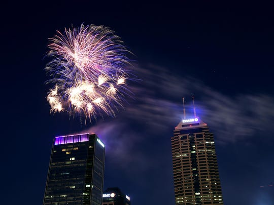 Fireworks shoot from the top of Regions Tower during last year's Donatos Downtown Freedom Blast.