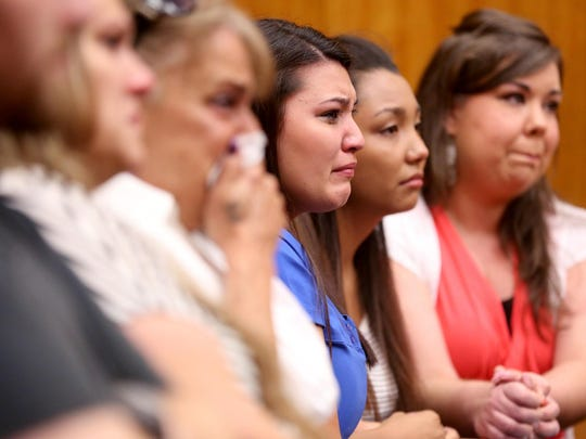 Marisa Gonzalez, 20, aunt of Aniya Zamora, cries during the sentencing of Mercedes Alvarado, 25, at the Marion County Courthouse in Salem on Tuesday, June 30, 2015. Alvarado was sentenced to ten years, with three years of post-prison probation for manslaughter in the 2013 death of her 3-year-old daughter, Aniya Zamora.