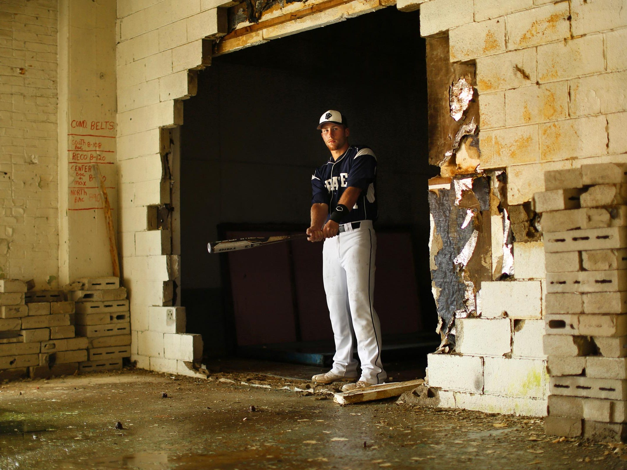 Bay Port's Joe Baier, shown inside the former Larsen Canning Company in downtown's Broadway District, is the All-USA Press-Gazette Media baseball player of the year.