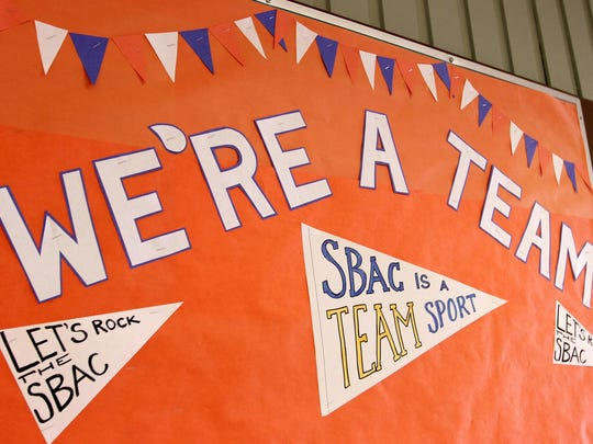 Decorations adorn the halls for the first day of SBAC testing at Whiteaker Middle School in Keizer on Tuesday, March 31, 2015.