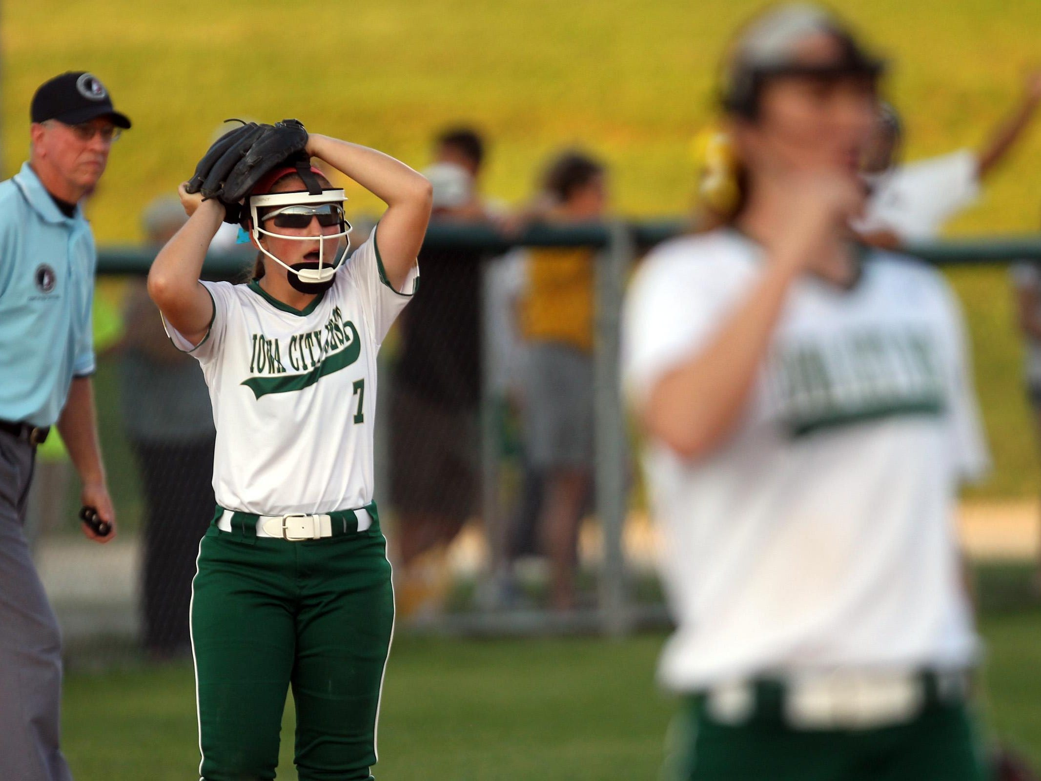 West High's Adara Opiola reacts to a call during the Women of Troy's Class 5A regional championship game against Ankeny at West High on Tuesday, July 14, 2015. Ankeny won, 3-1, to head to state. David Scrivner / Iowa City Press-Citizen