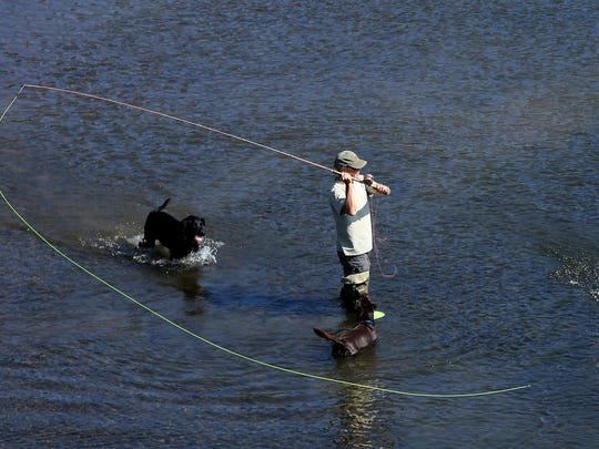 Todd Yorke, of Salem, casts a line Saturday, with his dogs Charlie and Rosie by his side, on the Willamette River in Salem.