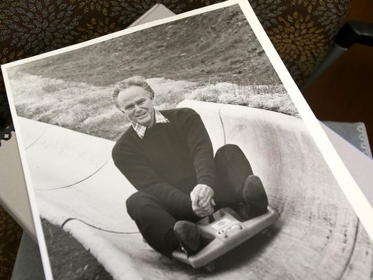 A photo of Sen. Bob Packwood was taken in 1982 on a slide at Mount Hood. The photo is one of the thousands of documents in the Willamette University Archives.