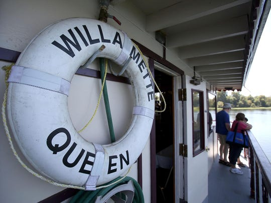 The Willamette Queen prepares to leave on a river cruise along the Willamette River on Wednesday, Aug. 5, 2015, in Salem, Ore.