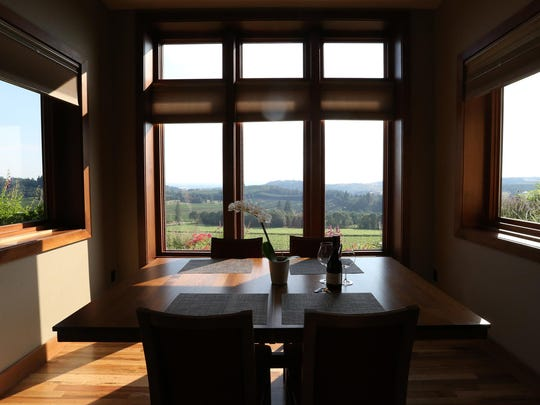 The dining area is seen in the upper winery suite at Willamette Valley Vineyards in Turner.