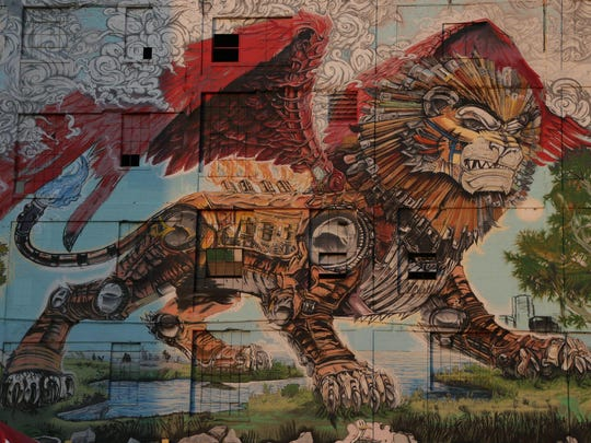 """Detroit Chimera Graffiti Mural"" by Kobie Solomon at the Russell Industrial Center, 1600 Clay in Detroit."