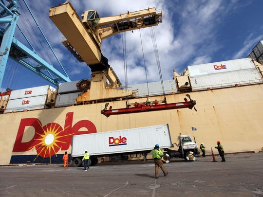 Dole products are loaded at the Port of Wilmington on March 11, 2014.