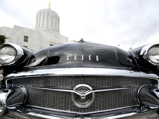 The grill of a 1956 Buick Estate, belonging to Walt Beuck, of Dallas, is on display during the Cruise Salem mid-century car show at the Oregon State Capitol in Salem on Saturday, Aug. 29, 2015.