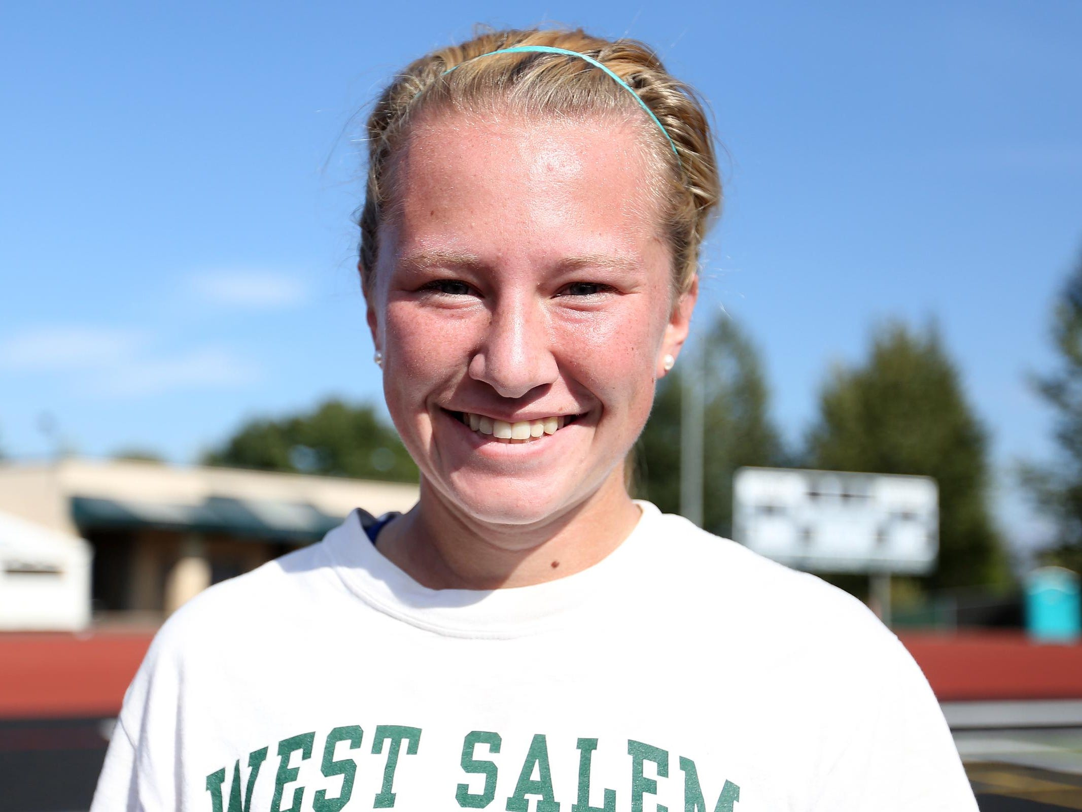 Senior Anna Norrenberns during girl's soccer practice at West Salem High School on Thursday, Aug. 27, 2015.