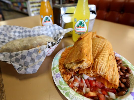 A tamales plate and carnitas burrito is served at Moothart's