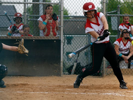 Warwick's Ashley Royer gets a hit at Garrett Field in Lampeter Strasburg on Saturday, May 9, 2015. Kirk Neidermyer for GameTimePA.com