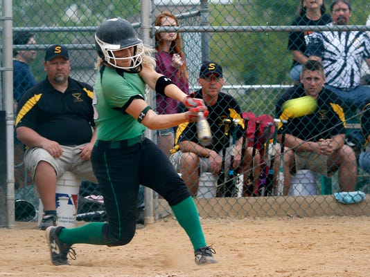 Donegal's Rachel Robinson hits a homerun at her first at bat at Garrett Field in Lampeter Strasburg on Saturday, May 9, 2015. Kirk Neidermyer for GameTimePA.com