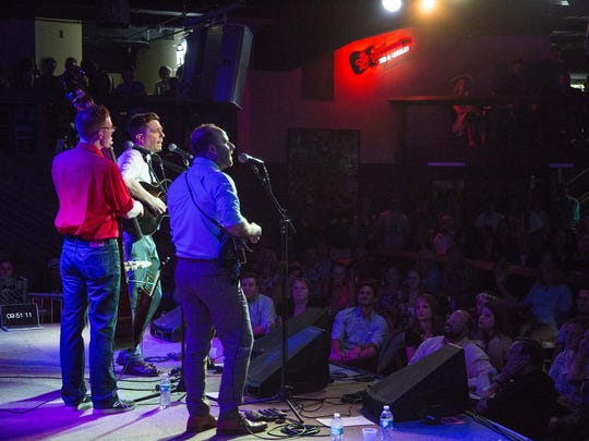 The Lonesome Trio — an acoustic band featuring Ed Helms and two pals — hits the stage with mandolin, guitar, banjo and bass at 3rd and Lindsley, another great music venue in Nashville, Tenn.