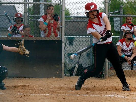 Warwick's Ashley Royer gets a hit at Garrett Field in Lampeter Strasburg on Saturday, May 9, 2015. Kirk Neidermyer for GameTimePA.com