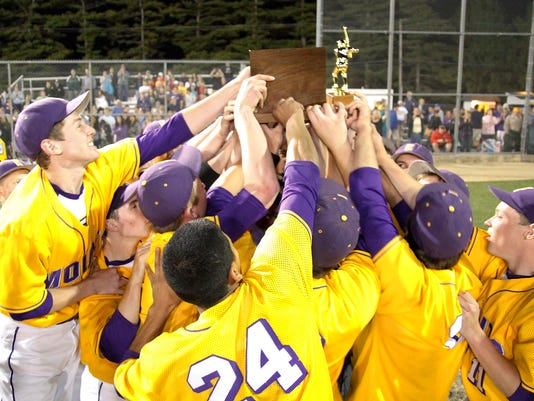 Ephrata celebrates their 7-2 win over Penn Manor at War Memorial Field in Ephrata on Thursday, May 14, 2015. Kirk Neidermyer for GameTimePA.com