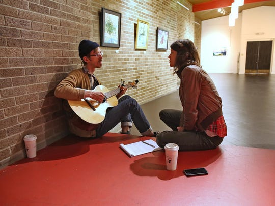 Daniel and Lauren Goans of Lowland Hum work together to write a song about their experiences visiting Indianapolis.