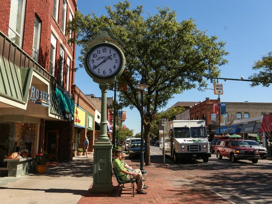 Businesses are pictured along Front Street in downtown Traverse City in 2015.