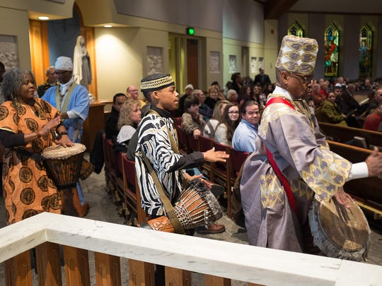 The Nubian Drummers lead the processional during St. Mary's 21st Afrocentric Mass in this 2015 file photo.