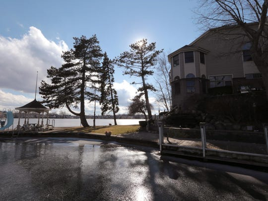 The home sits at the tip of a peninsula in Lake Orion.