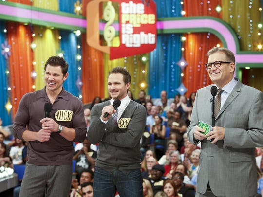 "Drew Carey, Drew Lachey and Nick Lachey on ""The Price is Right."""