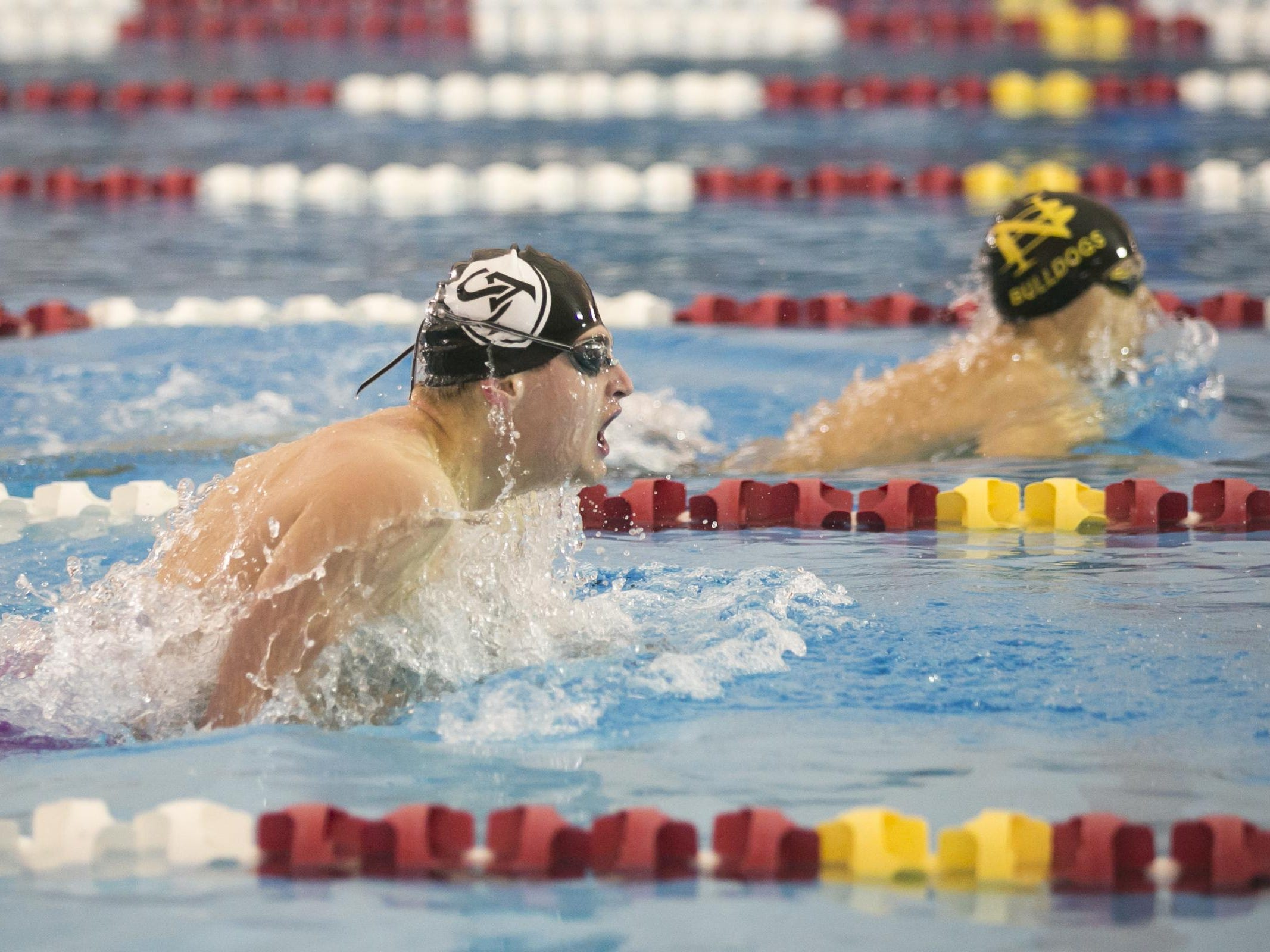 Salem Academy's Ian Shultz swims the boys 100 yard breaststroke at the OSAA Swimming State Championships at Mount Hood Community College on Saturday, Feb. 20, 2016.