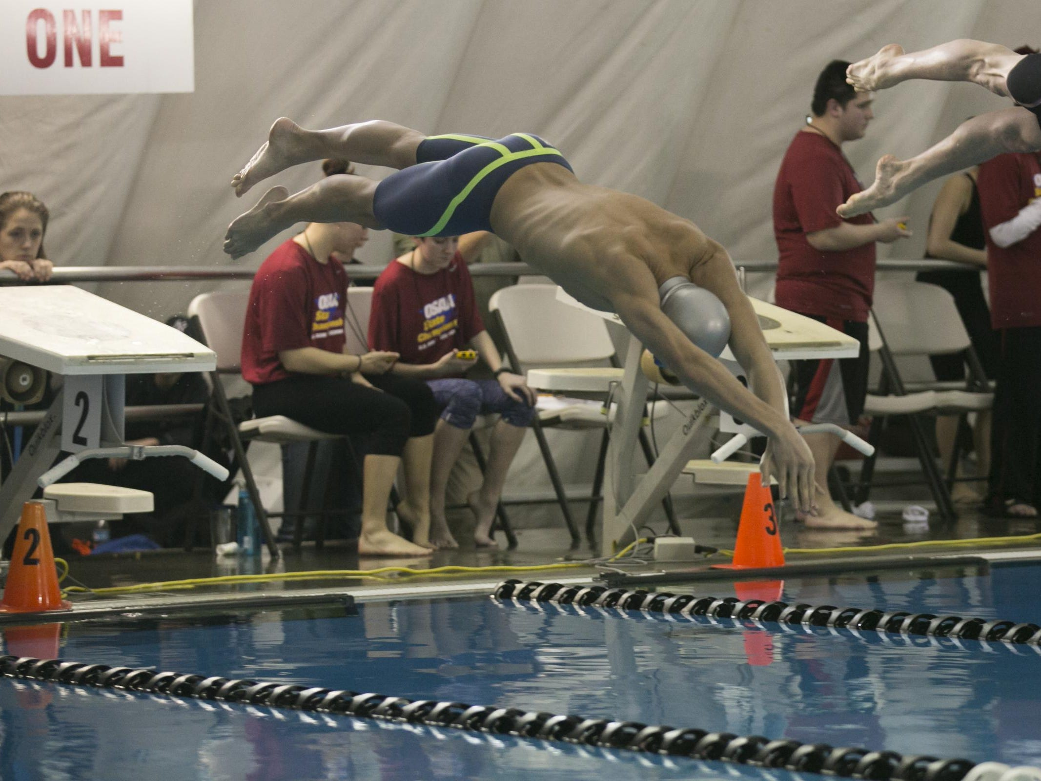 West Salem junior Micah Masei swims the boys 200 medley relay at the OSAA Swimming State Championships at Mount Hood Community College on Saturday, Feb. 20, 2016.