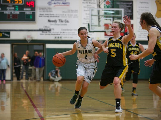 North Marion sophomore Ally Umbenhower (2) drives down the court at the Oregon West Conference championship against Cascade at North Marion High School in Aurora on Tuesday, Feb. 23, 2016.