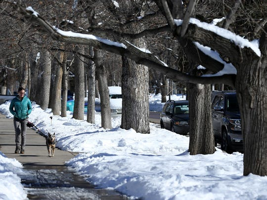Erin Gorsich walks with her dog, Georgia, along Fort Collins' Mountain Avenue in February.