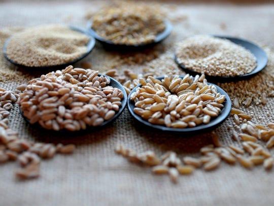 Grains. Amaranth, Freekeh, Quinoa, Kamut,Farrow.
