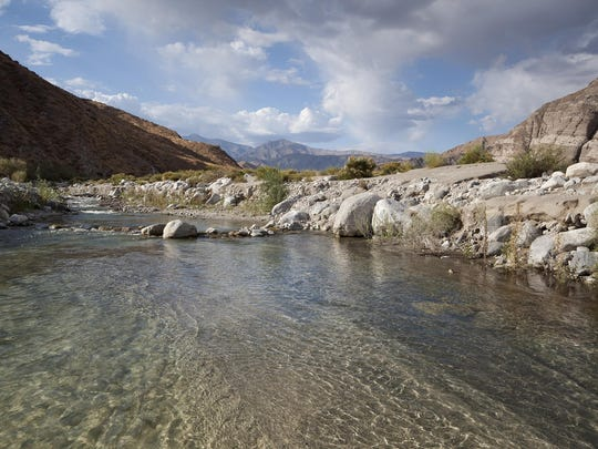 The exit off Interstate 10 to Whitewater Preserve is signaled by a flowing, rocky river bed.