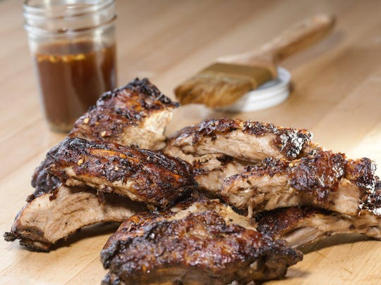 Baby back ribs with Carolina-style sauce prepared by Detroit Free Press cook Susan Selasky at the Great Lakes Culinary Center in Southfield.