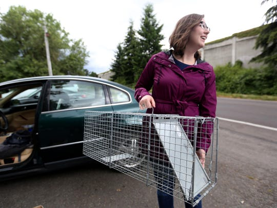 Kirsten Straus, the community cat coordinator with the Willamette Humane Society, holds a trap used to catch cats so they can be fixed, part of a free spay and neuter program for cats in the 97301 zip code in Salem on Saturday, June 18, 2016.