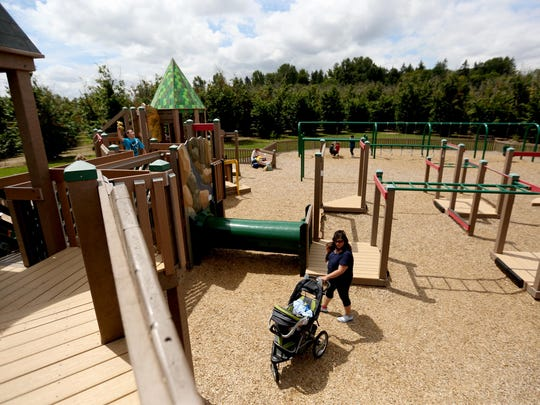 Keizer Rapids Park offers paved and unpaved trails, a dog park, a disc golf course, sand volleyball courts, an amphitheater and the Big Toy playground.