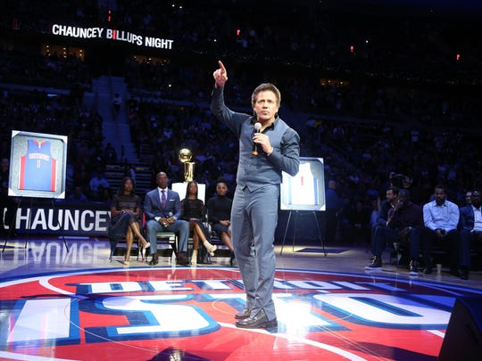 Pistons owner Tom Gores introduces former Detroit Piston Chauncey Billups to speak before his jersey is retired during half time of the game against the Denver Nuggets on Wednesday, Febuary 10,2016 at The Palace of Auburn Hills in Auburn Hills MI. Kirthmon F. Dozier/Detroit Free Press