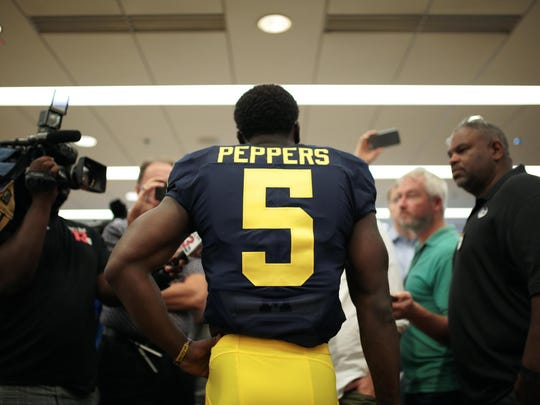 Michigan Jabrill Peppers (5) speaks to reporters during University of Michigan football team Media Day event on Sunday, August 7, 2016, at Michigan Stadium in Ann Arbor, MI.