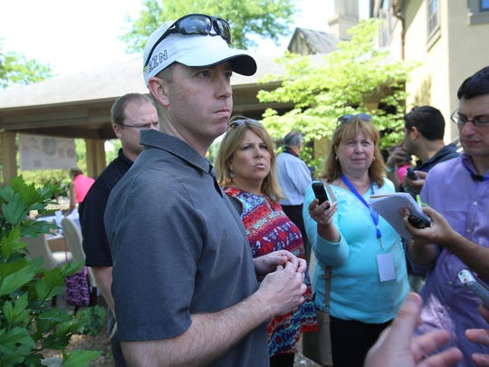 """Detroit Lions Exec. Vice President and General Manager Bob Quinn speaks to the press during the """"Have a Heart Save a Life"""" celebrity golf outing organized by the Charlie Sanders Foundation at Knollwood Country Club in West Bloomfield, Mich. on Monday, June 6, 2016."""