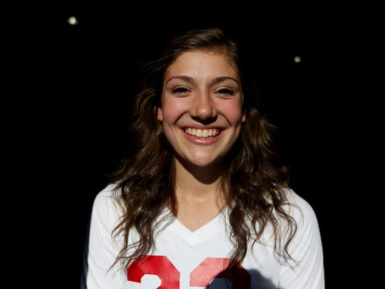 Hannah Schanz, a senior volleyball player, stands for a photo at Crossbill Christian School in Turner on Monday, Sept. 26, 2016.