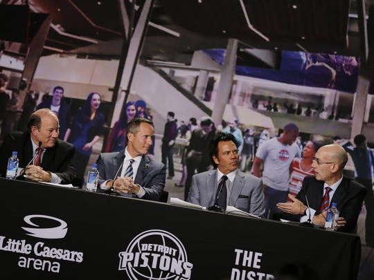 From left, Detroit mayor Mike Duggan, Christopher Ilitch, Tom Gores, and NBA commissioner Adam Silver talk Tuesday.