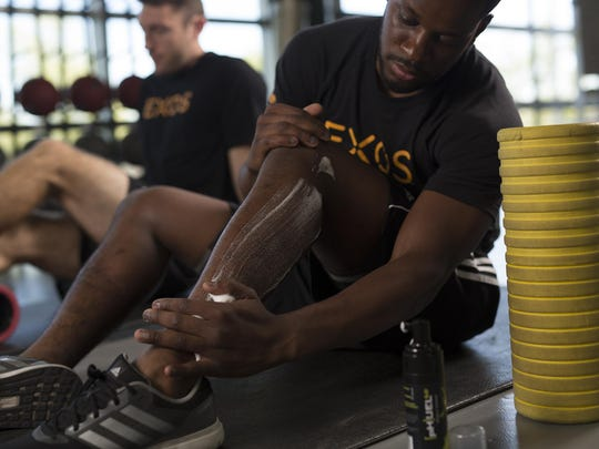 An athlete uses one of Avadim Technologies' skin products developed. Under the brand name {pH}UEL 5.0, these products help with muscle recovery, Avadim researchers say.